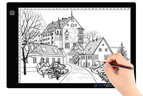 Tikteck A4 Ultra-thin Portable LED Light Box Tracer USB Power Cable Dimmable Brightness LED Artcraft Tracing Light Box Light Pad for Artists Drawing Sketching Animation Stencilling X-rayViewing (Best Lightbox For Calligraphy)