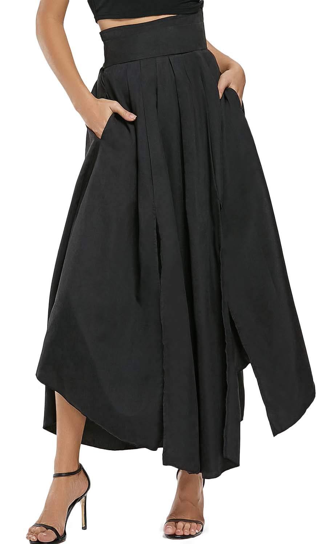 Bodycon4U Women's High Slits Bow Tie Summer Beach High Waist Shirring Maxi Skirt Pockets Black M