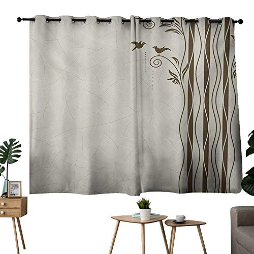 NUOMANAN Curtains for Living Room Nature,Abstract Wavy Swirled Tree Branches with Leaves and Little Birds Illustration,Eggshell Brown,Blackout Thermal Insulated,Grommet Curtain Panel Set of 2 52