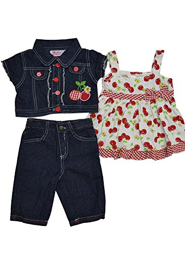 Alfa Global Little Girls' Dress, Short Denim Jacket, and Pants 3 pcs. Set Size 6T by Alfa Global (Image #2)