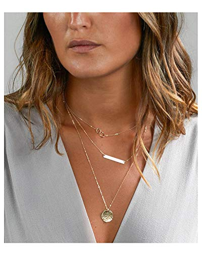 Long tiantian Hammered Mother Daughter Bar Coin Layered Choker Necklace for Women Dainty Handmade Multilayer Geometric Jewelry (A:Layered Necklace-G)