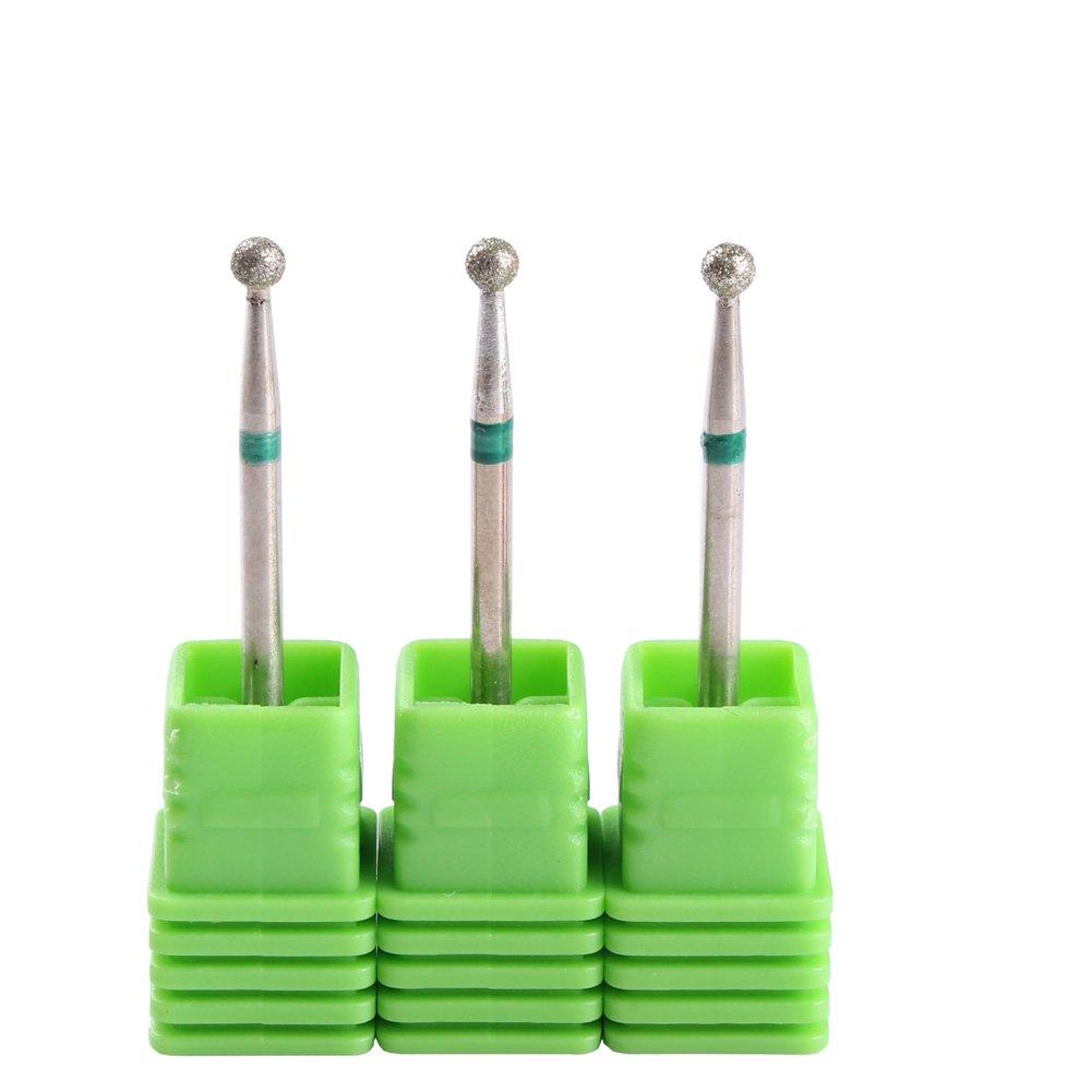 MZCMSL 5PCS Nail Drill Bits Ball Head 3/32 Diamond Cuticle Bit For Electric Nail File Machine 5J tools