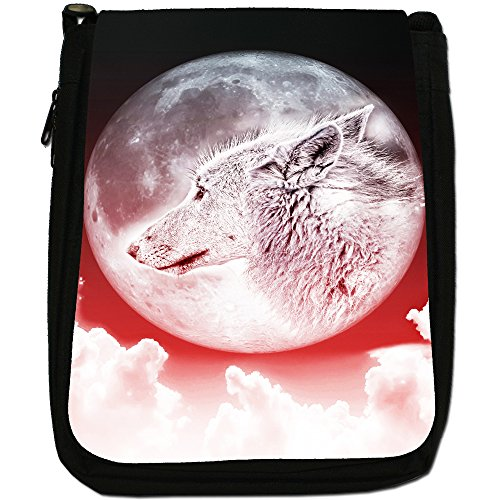 Moonlight Shoulder Size Red Black Medium Canvas Bag Wolf gwPgFqS