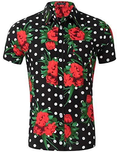 (XI PENG Men's Tropical Short Sleeve Floral Print Beach Aloha Hawaiian Shirt (Black Polka Dot Red Floral, Small))