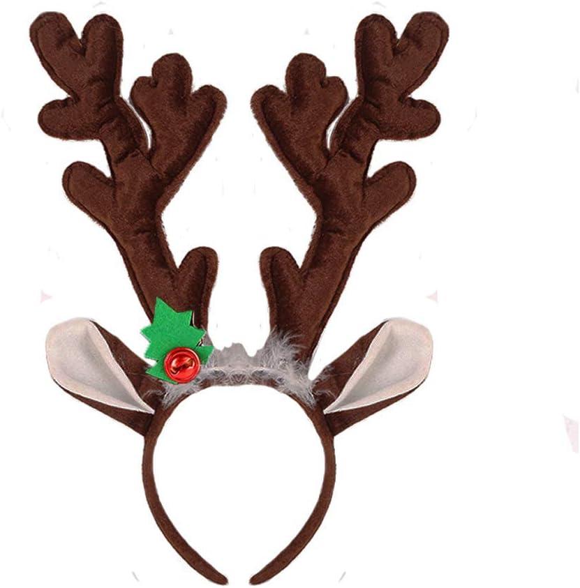Soft Christmas Reindeer Antlers Deluxe Plush Horns Costume Kids Adults Headband