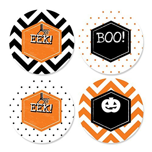 Big Dot of Happiness Eat, Drink and Be Scary - Chevron Black and Orange - Assorted Halloween Party Circle Sticker Labels - 24 (Diy Creative Halloween Costume Ideas)