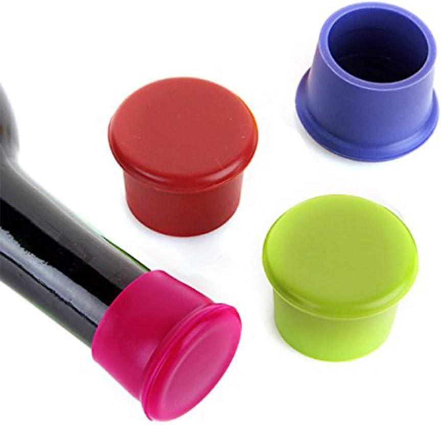 mi ji 3pcs Tapones de Silicona Vino Tapas de Tapones de Botellas sellador de Silicona Reutilizable Vino y Bebidas de reemplazo Tapones de Corcho para Vino (Color al Azar) para su casa