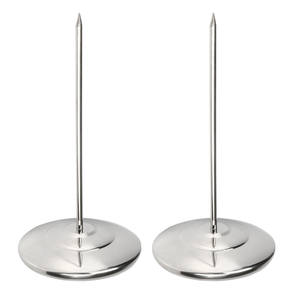 "Pack of 2 Straight Rod Receipt Holder, Stainless Steel Restaurant Check Spindle, Paper Holder for Memo Note Bill with 3.2"" Round Base and 6.3"" Thick Spindle Rod"