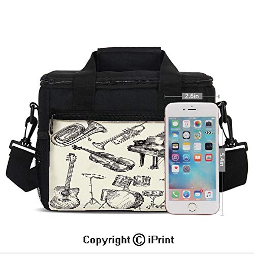 Insulated Lunch Bags For School With Bottle Holder Collection of Musical Instruments Sketch Style Art with Trumpet Piano Guitar Kids Lunch Box Snacks Tote Lunch Containers 3D Print Beige Black ()