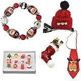 MJARTORIA Christmas Santa Charm Bracelet Hat Hairclip Necktie Brooch Rings Set