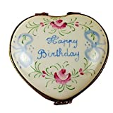 HAPPY BIRTHDAY HEART-50TH - LIMOGES PORCELAIN FIGURINE BOXES AUTHENTIC IMPORTS