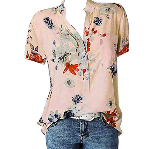 ✔ Hypothesis_X ☎ Women's Plus Size V Neck Tops Short Summer Floral Print Short Sleeve Tops with Pocket Pink -