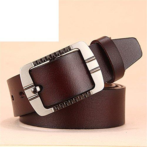 Meetloveyou men luxury famous designers ceinture homme Pin buckle wide jeans vintage brown