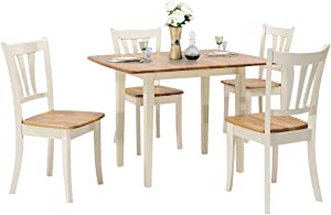 Giantex 5-Piece Dining Table Set, Folding Tabletop, Wood Kitchen Table Set with 4 Chairs, Modern Home Furniture for Family (Natural & Milky White)