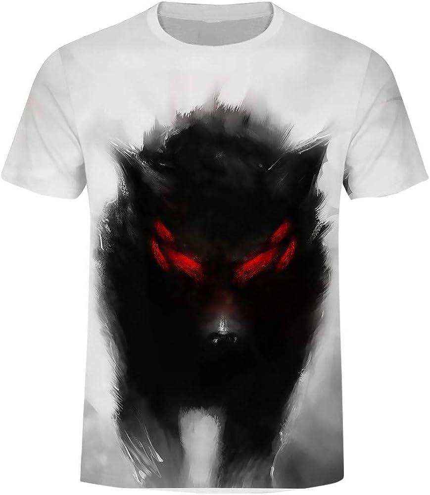 Camisetas Hombre Manga Corta Tallas Grandes Moda Camisa de impresión Lobo para Hombre Camiseta de Manga Corta Camisa Casual Hombre Slim fit Blusa Tops: Amazon.es: Ropa y accesorios