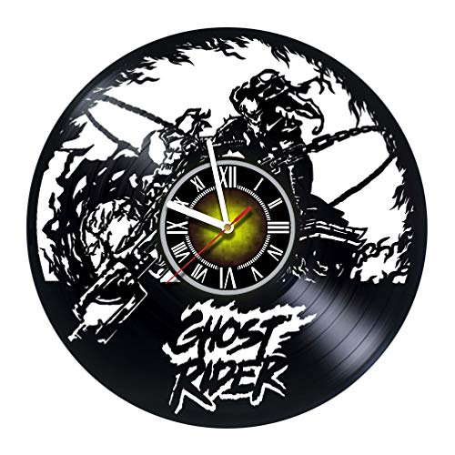 Toffy Workshop Ghost Rider - Vinyl Wall Clock - Get Unique Gifts Presents for Birthday, Christmas, Ideas for Boys, Girls, Men, Women, Adults, him and her - Sport Unique Art Design (Rider Ghost Vinyl Adult)