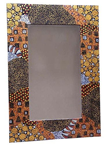 Symbolist Mirror Featuring Geometric Swirls 30''x21'' 'Nouveau Inspired Mirror' by Ten Thousand Villages