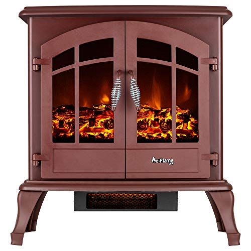 e-Flame USA Jasper Electric Fireplace Stove (Rustic Red) - This 23-inches Tall Freestanding Fireplace Features Heater and Fan Settings with Realistic and Brightly Burning Fire and Logs