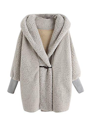 SweatyRocks Women Khaki Hooded Dolman Sleeve Faux Fur Cardigan Coat for Winter Apricot #1 One Size