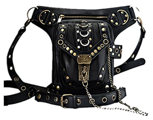 Pack Waist Leg Bag Punk Steampunk Shoulder Vintage Purse Handbag OMAS Gothic Coin t6SZW