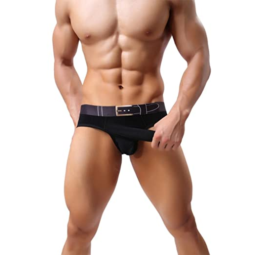 FUA®Mens Sexy Bikini Thong Underwear Smooth Long Bulge Pouch Shorts Boxers Brief at Amazon Mens Clothing store: