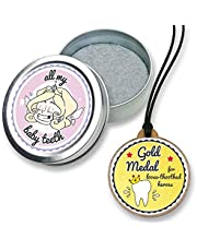 FANS & Friends baby tooth keepsake box with gold medal, with free e-book, tooth fairy necklace award, tooth fairy gifts for girls & boys, metal first tooth box (Tooth Fairy)