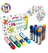 Dot Markers,14 Colors Bingo Daubers with Dot Coloring Book for Toddler Activities, Non-Toxic Wash...