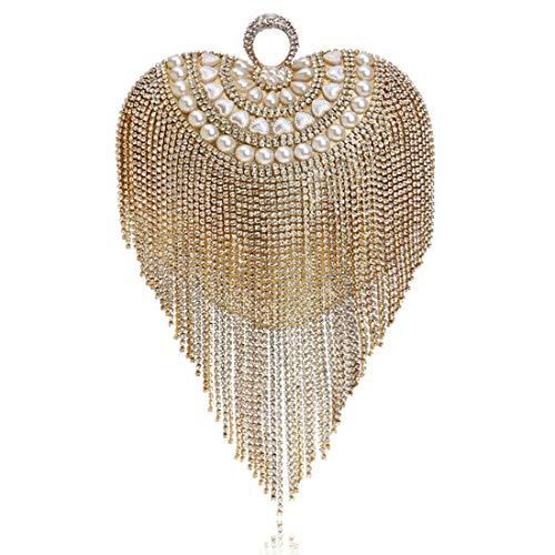 Gold Forme color Coeur Longue Gland À Avec Pour Perceuse Main Sac Gold Bal Mariée Cijfay Soirée Mariage Perlée De atwEqqT