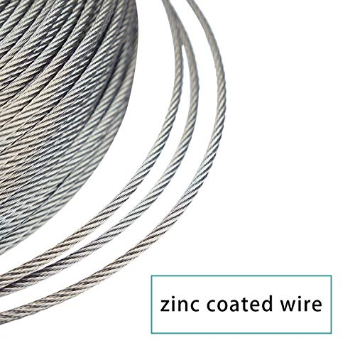 Muzata Galvanized Steel Wire Rope 1//8 Cable 165 Feet for Railing Decking Stair Balustrade Dog Run Clothes Lines Outdoors DIY,7x7 Strand WR03