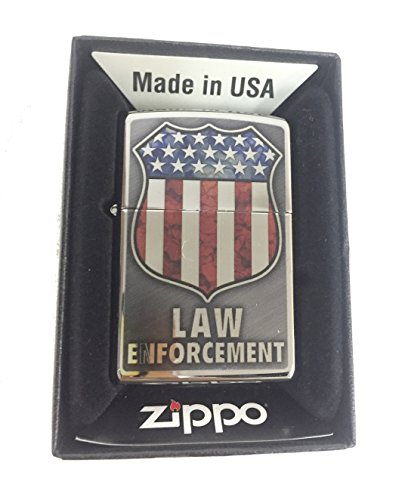 Zippo Custom Lighter - Law Enforcement Shield USA Flag Logo Fuzion - High Polish Chrome