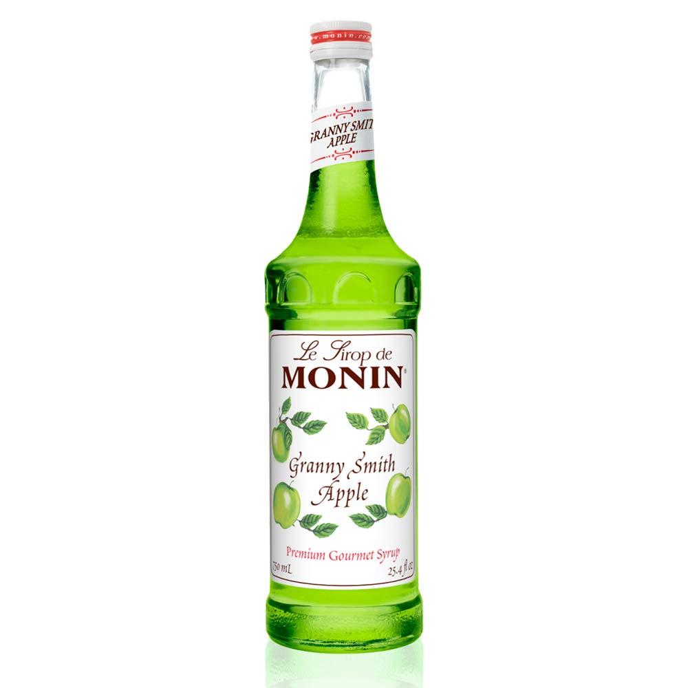 Monin - Granny Smith Apple Syrup, Tart and Sweet, Great for Cocktails and Lemonades, Gluten-Free, , Non-GMO (750 ml)