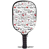 AngelDOU Romantic Soft Neoprene Pickleball Paddle Racket Cover Case I Love You Quote with Hearts Romance Couple Valentine with Plain Backdrop Fit for Most Rackets.Red Black and White