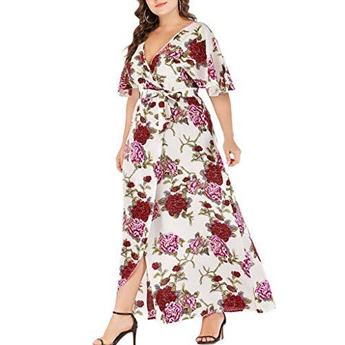 JustWin Summer Women Flower Print Straps V-Neck Dress Plus Size Bandage Short Sleeve Dress White