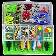 Isafish Fishing Tackle Set, Fishing Lures Kit Set for Bass, Trout, Salmon, Including Spoon Lures, Soft Plastic