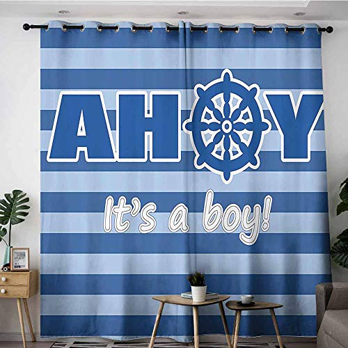 Onefzc Window Curtain,Ahoy Its a Boy Baby Shower New Birth Announcement Marine Wheel Striped Backdrop,Room Darkening, Noise Reducing,W72x84L,Light Blue Blue White