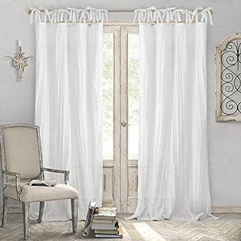 Amazon.com: Best Home Fashion Sheer Voile Curtains Tie Top White 56quot;W x 84quot;L Set of 2
