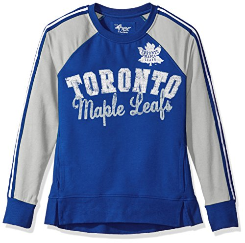 GIII For Her NHL Toronto Maple Leafs Women's Perfect Pitch Pullover Crewneck Jacket, Large, Blue/Gray