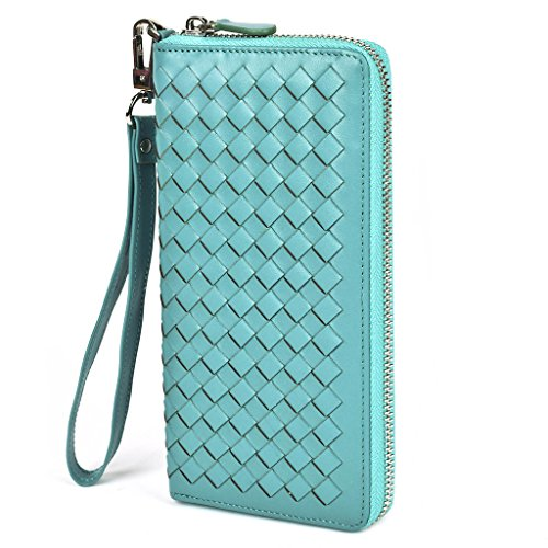 Lackingone RFID Blocking Wallet RFID Wallets For Women Genuine Handmade Leather Purse Secure Safe Woven Clutch Bag Green