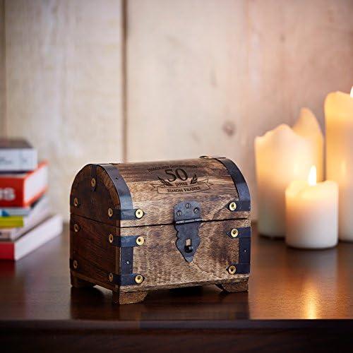 Geburtstag Geschenkidee f/ür M/änner und Frauen Aufbewahrungsbox aus dunklem Holz Personalisiert mit Namen Verpackung f/ür Geld und Gutscheine Zum 50 Casa Vivente Schatztruhe mit Gravur