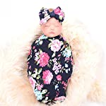 Newborn-Receiving-Blanket-Headband-Set-Flower-Print-Baby-Swaddle-Receiving-Blankets-ga