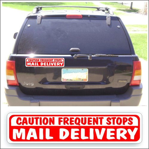 (Solar Graphics USA Magnet Magnetic Sign - Mail Delivery Caution Frequent Stops For Delivery Vehicle, Newspaper Or Rural Mail Delivery Car Or Truck - 3 x 14 inch)