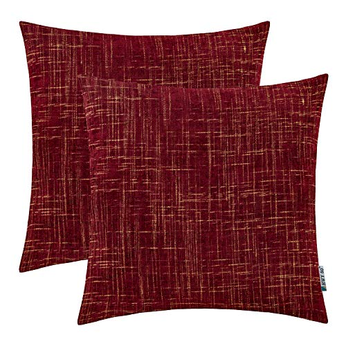 (HWY 50 Chenille Soft Soild Decorative Throw Pillows Covers Set Cushion Cases for Couch Sofa Bed Comfortable 18x18 inch Wine Red Pack of 2)