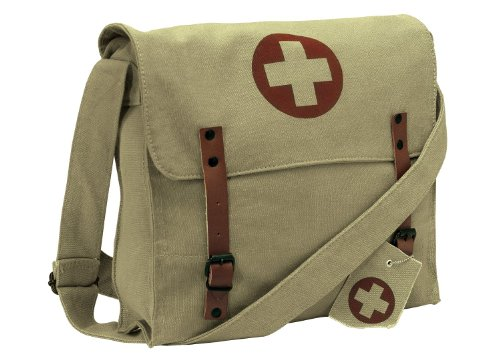 Cross Vintage (Rothco Vintage Medic Canvas Bag With Cross, Khaki)