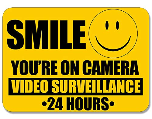MAGNET 6x8 inch LARGE Smile You're On Camera Video Surveillance Sticker - 24 hours cam Magnetic vinyl bumper sticker sticks to any metal fridge, car, signs