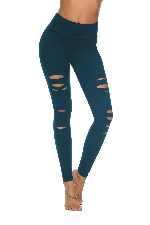 DIBAOLONG Womens High Waist Yoga Pants Cutout Ripped Tummy Control Workout Running Yoga Skinny Leggings Navy XL by DIBAOLONG