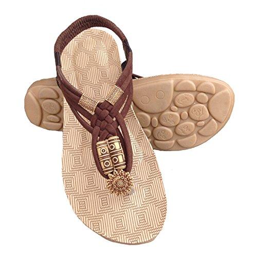 Angelliu Womens Bohemian Beads Braid Summer Beach Thong Sandals Flip Flops Shoes Coffee RrzdywYaMu