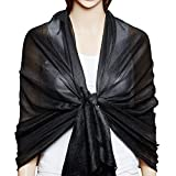 QBSM Womens Black Sheer Large Soft Bridal Formal Evening Scarf Shawls Wraps Summer Cover Up Mother's Day Gift