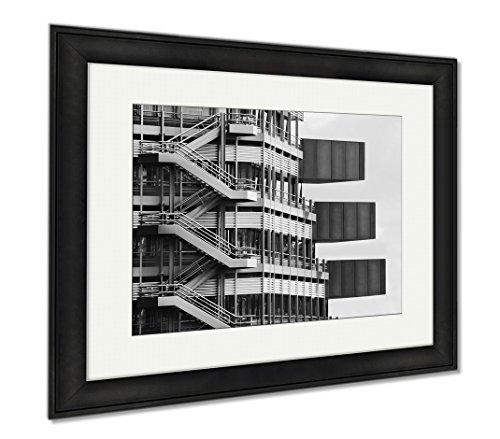 Ashley Framed Prints Fragment Of A Modern Building Modern Architecture Design In Hamburg Germany, Modern Room Accent Piece, Black/White, 34x40 (frame size), Black Frame, - Dublin Glasses Frames