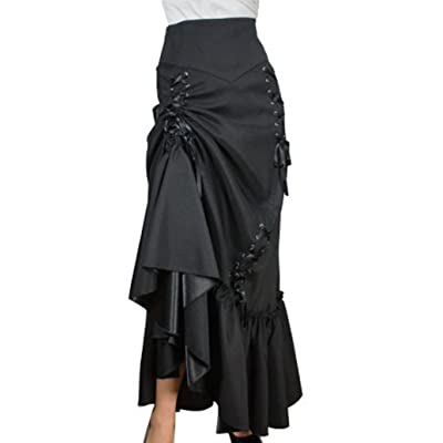 (XS-28) Steampunk Ball -Ships Free- Black Victorian Gothic Sateen Corset Skirt