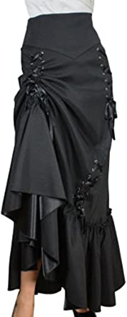 Womens Victorian Bustle Gothic Skirt Lace High Low Waist Ball Cocktail Steampunk